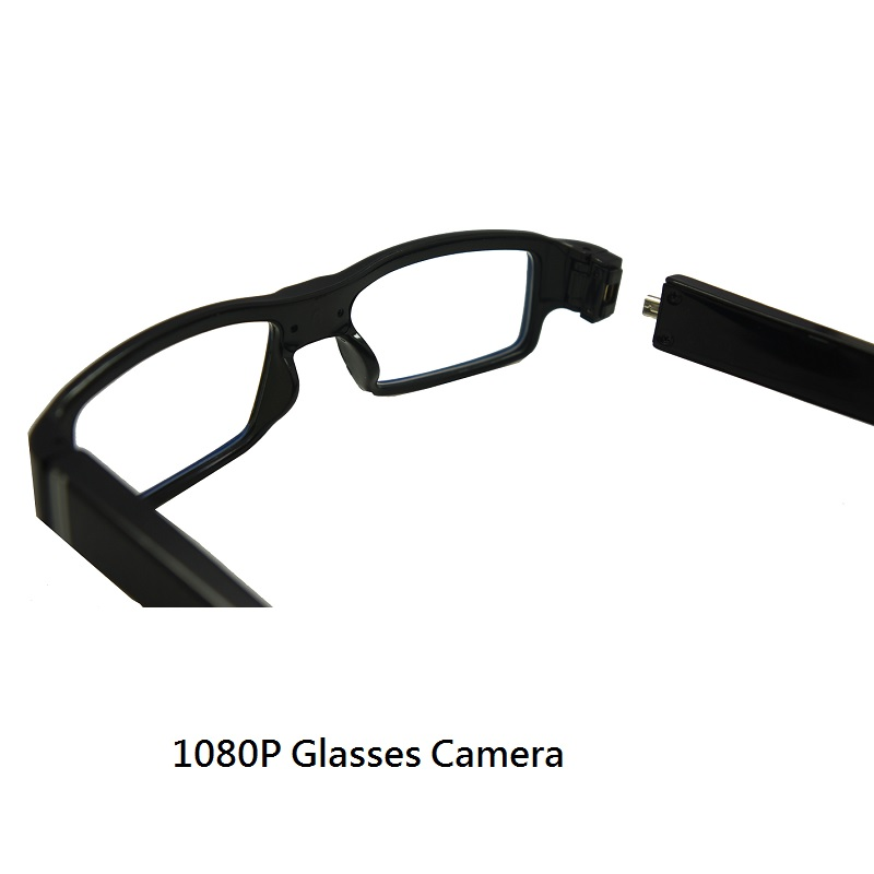 Full HD 1080P Spy Glasses Camera DVR w/ Black Battery temple